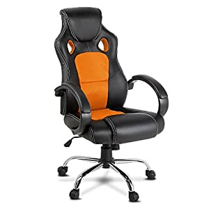 Adjustable Racing Office Gaming Chair Executive Desk Chair with Casters (Orange)