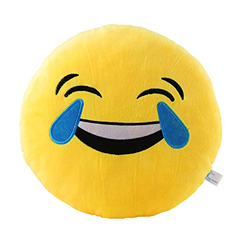 Laugh Till You Cry Emoji Pillow 12.5 Inch Large Yellow Smiley Emoticon