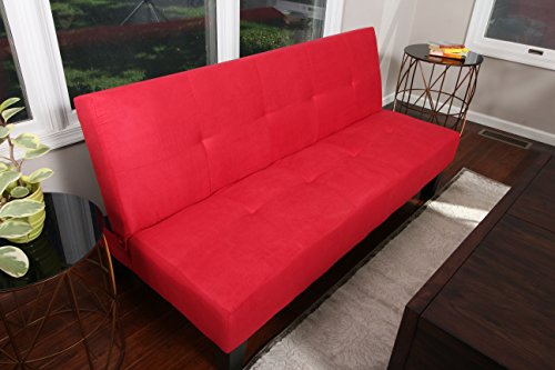 Home Life Red Microfiber With Adjustable Back Klik Klak Sofa Futon Bed Sleeper Convertible (Cheap Sofa Beds)