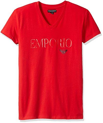 - Emporio Armani Men's Megalogo V-Neck T-Shirt, Red, Small