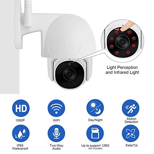 Pan Tilt WiFi Wired Security Camera Outdoor, 1080P HD Home WiFi IP Camera with Two Way Audio Motion Detection Night Vision Waterproof Surveillance Cam Support Max 128G