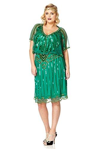 En nbsp;vestido Flapper Ángel Azul nbsp;– 1920 Funda Gatsbylady Verde Vintage Marino nbsp;de Esmeralda 8wqZX0p