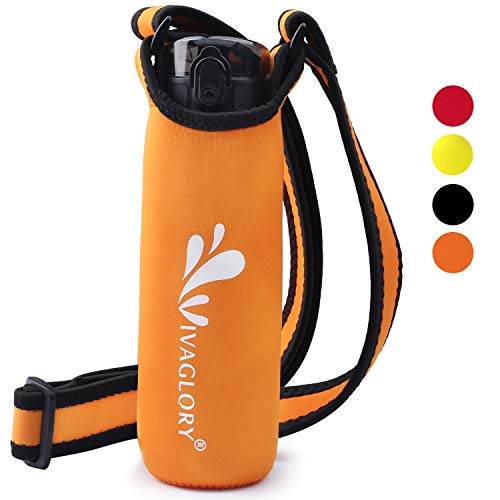 (Vivaglory Portable Neoprene Water Bottle Holder for Walking, with Adjustable Wide Shoulder Strap, Fits Bottle with 2.8