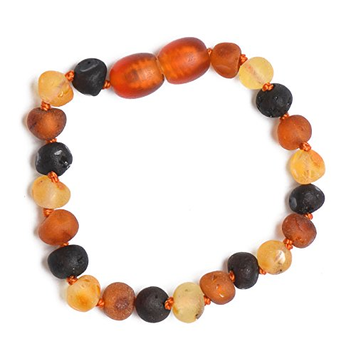 Genuine Amber - Baby Unisex Teething Anklet / Bracelet - 4.7 Inches - Raw Not Polished 100% Natural Baltic Amber Beads - Knotted Between Beads - With Plastic Screw Clasp - Mixed (Vintage Plastic Beads)