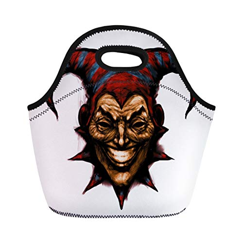(Semtomn Neoprene Lunch Tote Bag Laughing Angry Joker Character Head Face Horror and Crazy Reusable Cooler Bags Insulated Thermal Picnic Handbag for Travel,School,Outdoors,)