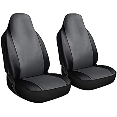 Motorup America Leather Auto Seat Cover High Back Integrated Set - Fits Select Vehicles Car Truck Van SUV - Gray/Black