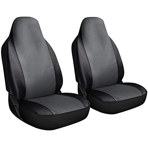 Motorup America Leather Auto Seat Cover High Back Integrated Set - Fits Select Vehicles Car Truck Van SUV - Gray/Black ()