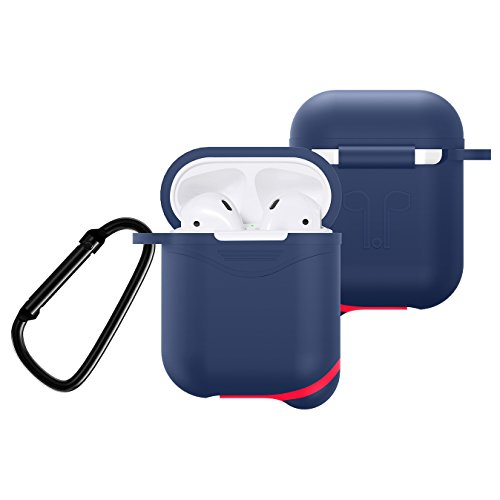 Premium Silicone Case for Apple AirPods Charging Case, Crash Scratch Resistant Anti Slipping Holder Seamless Fit Splash Dust Proof Pouch for Air Pods Earbuds (Navy Blue) - Blue Earbud Covers