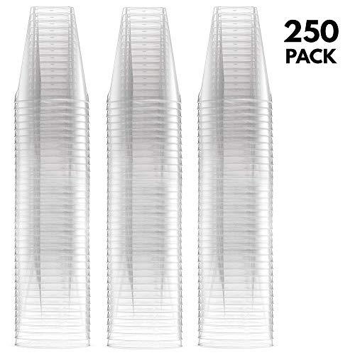 250 Pack - 2oz Disposable Hard Plastic shot Glasses, extra large size - volume 60ml