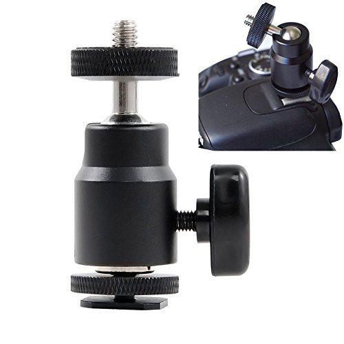 "Price comparison product image FOTYRIG Hot Shoe Adapter 1 / 4"" Mini Ball Head Hot Shoe Mount 360 Degree for Cameras,  Camcorders,  Smartphone,  Gopro,  LED Video Light,  Microphone,  Video Monitor and Ring Flash Light,  Black"