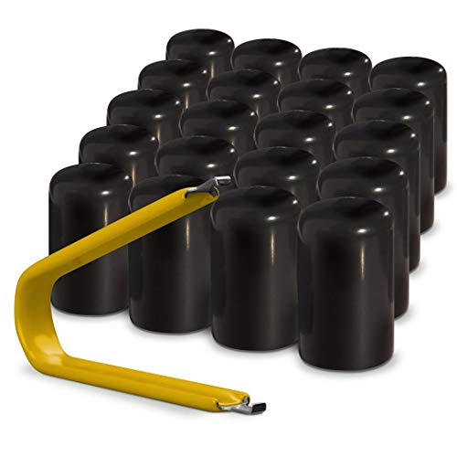 ColorLugs Vinyl LugCap Lug Nut Cover Black   Flexible Fit Lug Nut Cap   Fits 21-23mm wide x 1 Inch deep   Pack of 20 & Deluxe Extractor   Available in a Variety of Colors and Sizes   Made in the USA
