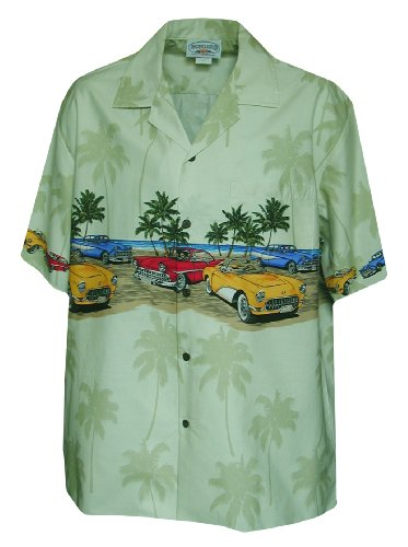 Pacific Legend Mens Custom Convertible Sports Car Chest Band Shirt Sage L
