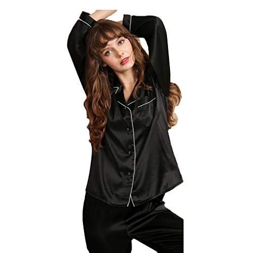 Pijamas Mujer Suave Pura 2 color Piezas Seda Sensualidad Ropa Green Larga Conjunto Sexo De Y L Pantalones Casual Manga Size Black Ajuste Cómodo qnTxpIEw