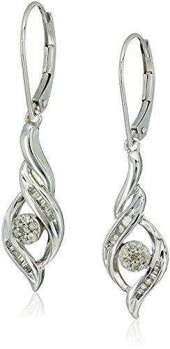 10k White Gold Diamond Cluster Dangle Earrings (10k White Gold Diamond Earring)