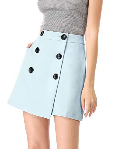 (Allegra K Women's Button Mini Skirt Casual Pockets High Waist Short Wrap Skirts Blue M US 10)