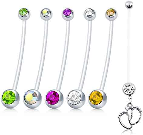 vcmart CZ Pregnancy Belly Button Rings 14G Sport Maternity Flexible Bioplast Pregnant Belly Navel Rings Retainer 1 1/2Inch Long Bar 6pcs