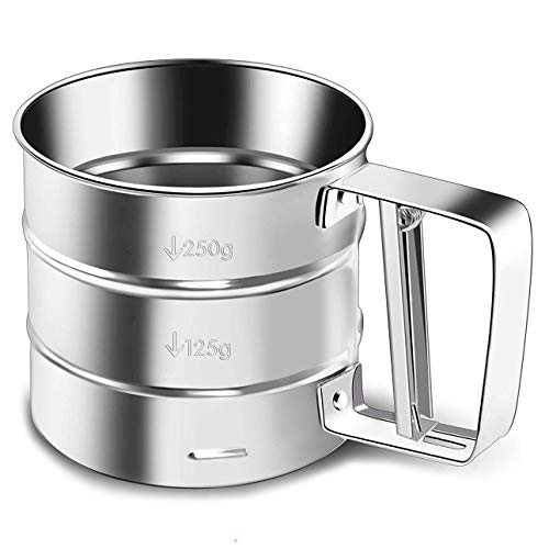 Flour Sifter, NPYPQ Stainless Steel Handheld Flour Sieve Cup Fine Mesh Powdered Sugar Filter with Measuring Scale for Baking, Breading