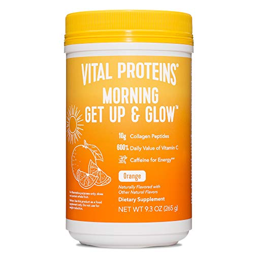 Vital Proteins Morning Get Up and Glow Collagen Peptides Powder Supplement, 90mg of Caffeine for Energy Plus Vitamin C…