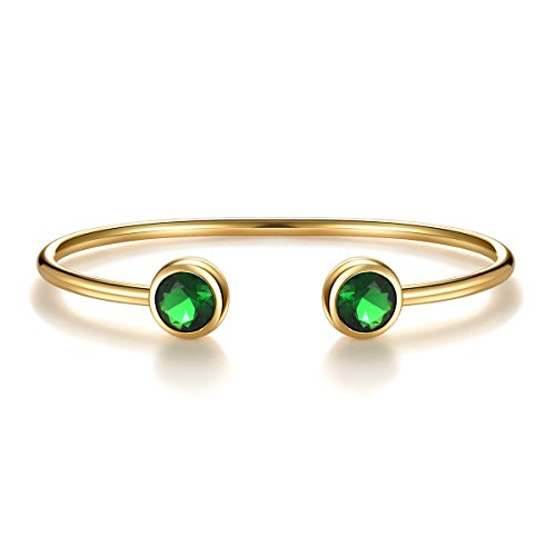 May Green Simulated Emerald Birthstone Cuff Bangle Bracelet Crystal Gold Plated Bangle Birth Month Charm Valentine's Day Gifts For Wife Girlfriend Birthday Gifts for Women Anniversary Gifts for ()
