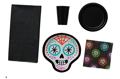 Day of the Dead Sugar Skulls Party Bundle including Plates, Cups, Napkins and Tablecloth (Day Of The Dead Party Ideas)