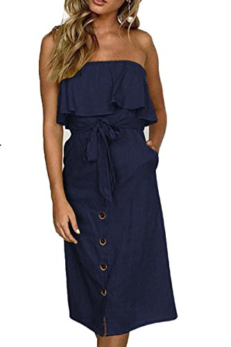 (ioiom Womens Dress-Summer Spaghetti Strap Tie Front Button Down Backless Midi Dress Navy S)