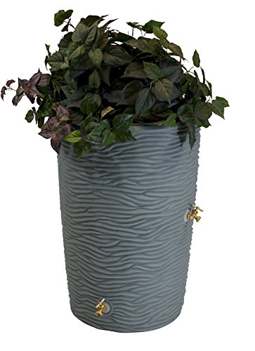 50 Gallon Plastic Barrels (Good Ideas IMP-L50-GRY Impressions Palm Rain Barrel, 50-Gallon Palm, Grey)