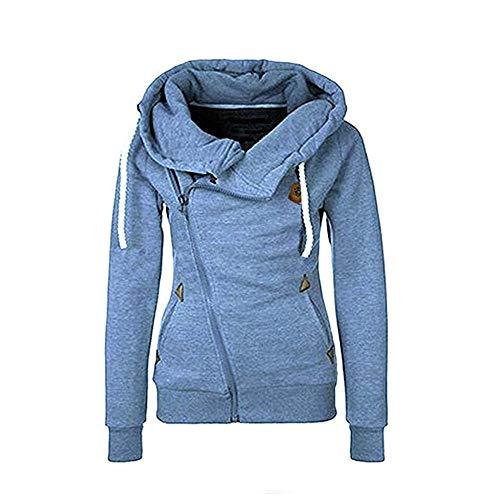 Seamido Women Side Zipper Casaul Hoodies Long Sleeve Warm Sweatshirt-Blue-XL
