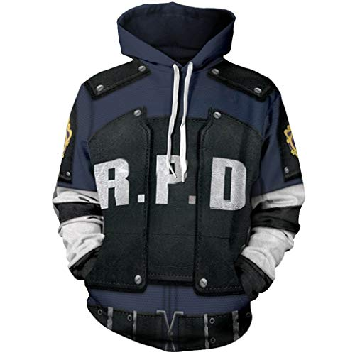 Resident Evil 4 Leon Halloween Costumes (Skycos Leon Jacket Hoodie 3D Printed RPD Zip Up Hooded Pullover Sweatshirt Halloween Cosplay Costume (L, Navy)