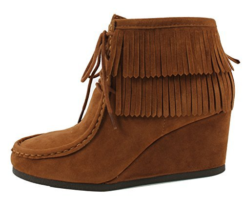 City Classified Women's Faux Suede Moccasin Fringe Lace - Moccasin Wedges