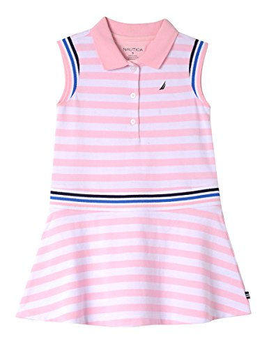 Nautica Girls' Little Patterned Sleeveless Dress, Light Pink Stripe Polo, 6
