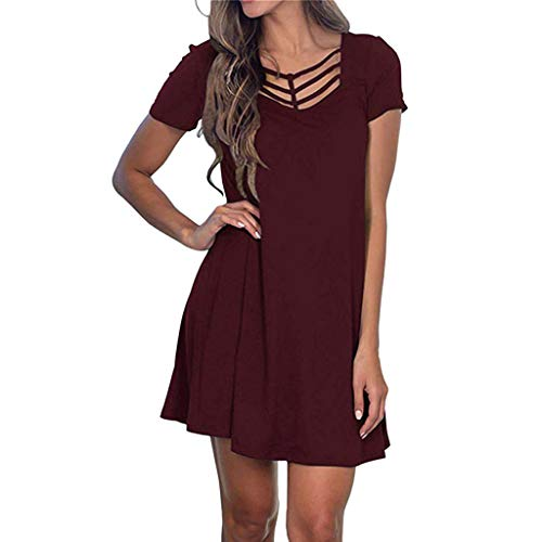 - t Shirt Dress for Women,ONLYTOP Women Summer Casual T Shirt Dresses A Line Swing Simple Mini Dress Plus Size Wine Red