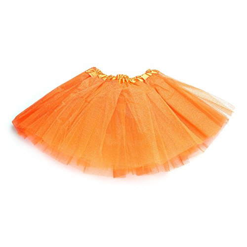 [Anleolife 12'' Fluffy Birthday Tutu Skirt For Baby Girls/Ballet Tutu Light Up Skirt (orange)] (Light Up Black Tutu)