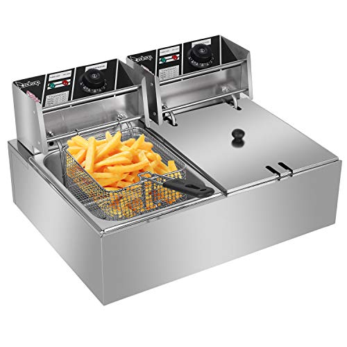 Teeker 5000W MAX 110V 12.7QT/12L Stainless Steel Double Cylinder Electric Fryer US Plug