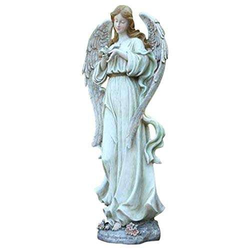 Angel with Bird Stone Indoor/Outdoor Garden Statue