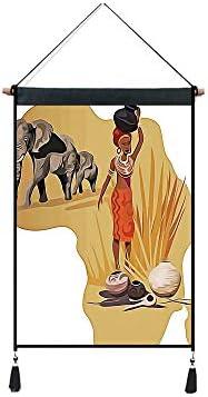 印刷者 ポスター タペストリー アニメ 掛ける絵 背景布 サファリ、アフリカの地図、伝統的な地元の女性サバンナセレモニーは、部族のイラスト、多色を備えています コットンとリネン 壁掛け 掛け物 多機能ホーム装飾 幅45cm*高さ65cm