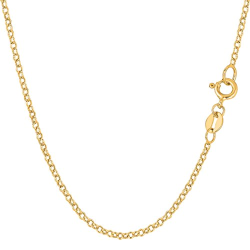14k Yellow Gold Round Rolo Link Chain Necklace, 1.85mm, 18