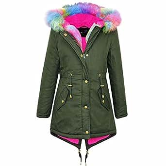 efdfe8e609af Amazon.com  Kids Hooded Jacket Girls Fur Parka School Jackets ...
