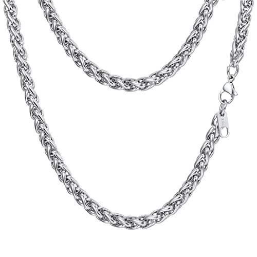 PROSTEEL Stainless Steel Wheat Braided Chain Link Necklace 6mm Twisted Chain Foxtail Chain Woven Chain Men Women Jewelry