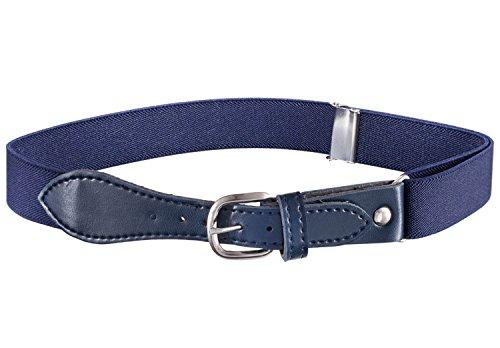 Kids Elastic Adjustable Belt with Leather Closure - Navy Blue