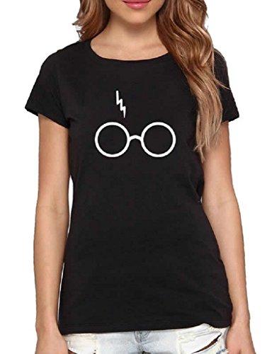 Women Harry Potter Glasses Cute Print Short Sleeve Crew Neck T-shirts Black S (Harry Pants Potter)