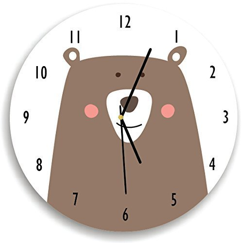 Kid'O Design Studio Woodland Bear Wall Clock Decorative Kids room Clock,Battery Operated Wall Clocks, White and Brown, 10.62 inches