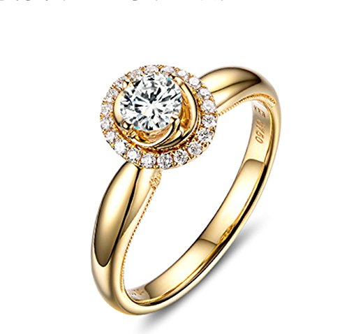 Gnzoe Rose Gold Women Wedding Rings Solitaire Engagement Rings Crown Flowers Yellow with White Blue 0.2ct Diamond Size 5.5 by Gnzoe