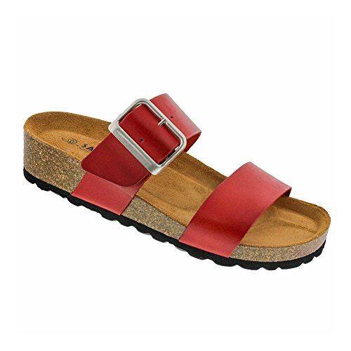 c19a450dde Sanosan New Women's Valentina Slide Sandal Red Burnished Leather 40