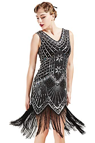 BABEYOND Women's Flapper Dresses 1920s V Neck Beaded Fringed Great Gatsby Dress (Black, S (Fits 26.8