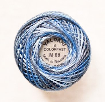Valdani Perle Cotton Size 8 Embroidery Thread, 72 Yard Ball - m68 Blue Clouds (variegated)