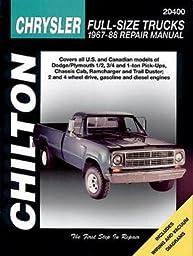 Chilton CHI20400 TCC Chrysler Full Size Trucks 67-88