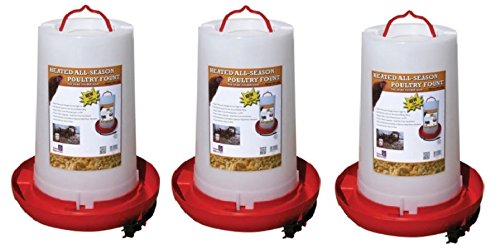 Farm Innovators Model HPF-100 ''All-Seasons'' Heated Plastic Poultry Fountain, 3 Gallon, 100-Watt (3-Pieces)