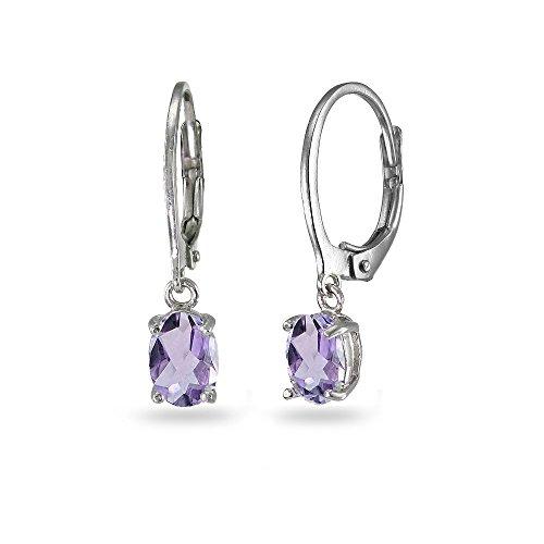 LOVVE Sterling Silver Birthstone Gemstone 7x5mm Oval-cut Small Dainty Dangle Leverback Earrings