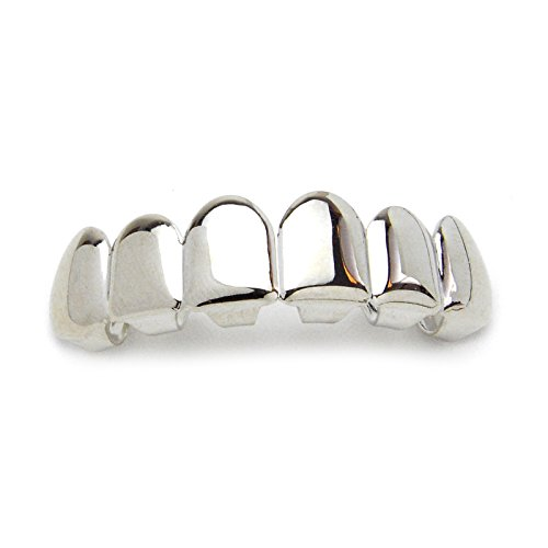 Metaltree98® Hip Hop Iced Out Plain Grillz White Gold Plating Upper Top Grillz Teeth L 001 S (Gold Teeth Wax compare prices)