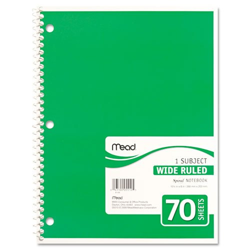 043100055105 - Mead Spiral 1-Subject Wide-Ruled Notebook, 1 Notebook, Color May Vary, Assorted Colors  (05510) carousel main 5